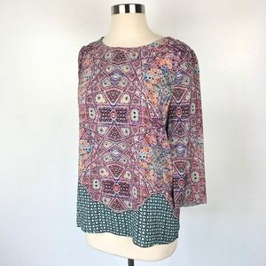 MAEVE | Anthropologie Button Back Graphic Top